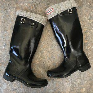 Hunter Tall Black Rain Boots w/ Socks